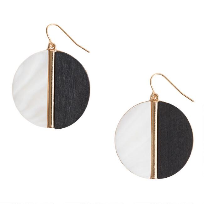 Gold Black and White Circle Drop Earrings