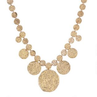 05ddff9b1b97 Gold Textured Circles Bib Necklace