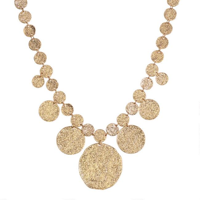 Gold Textured Circles Bib Necklace