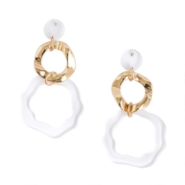 Gold and Clear Acrylic Drop Earrings