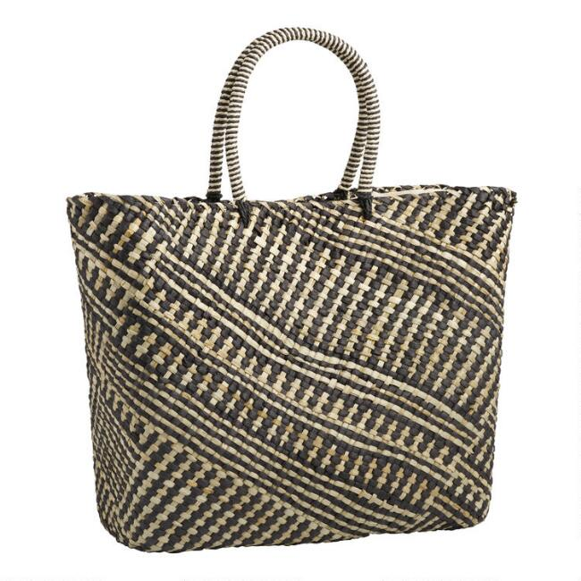 Black and Natural Geometric Stripe Straw Tote Bag