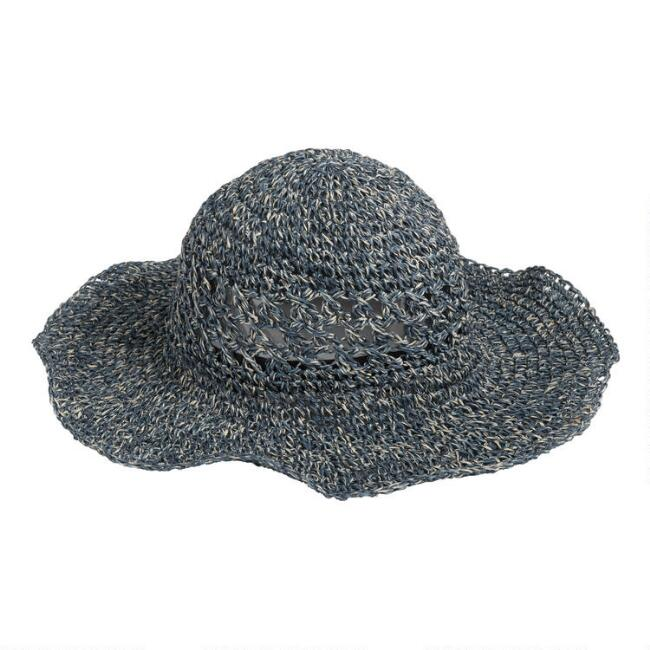 Dusty Blue and Ivory Heathered Straw Sun Hat