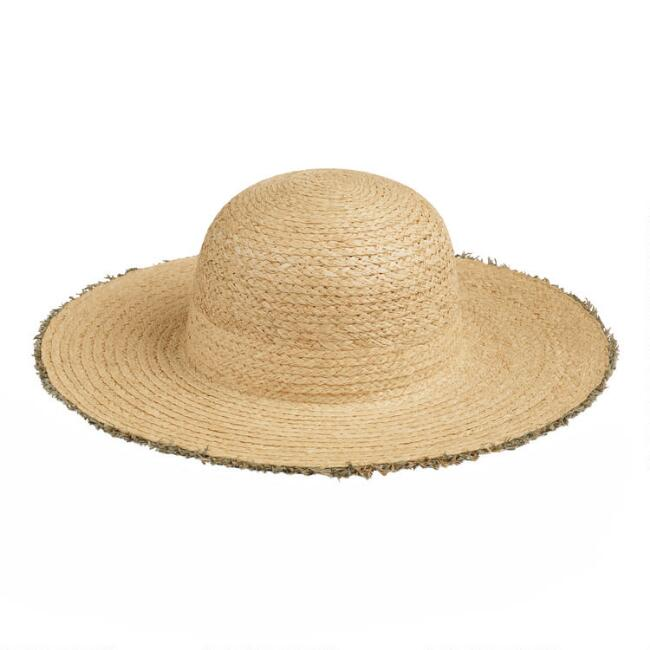 Natural Raffia Straw Raw Edge Sun Hat