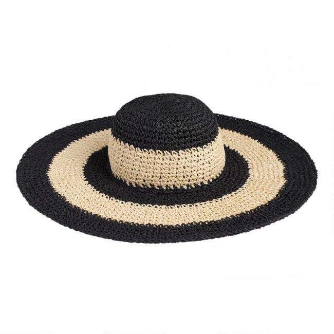 Black and Natural Striped Sun Hat