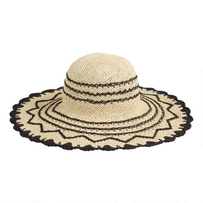 Natural and Black Crocheted Sun Hat