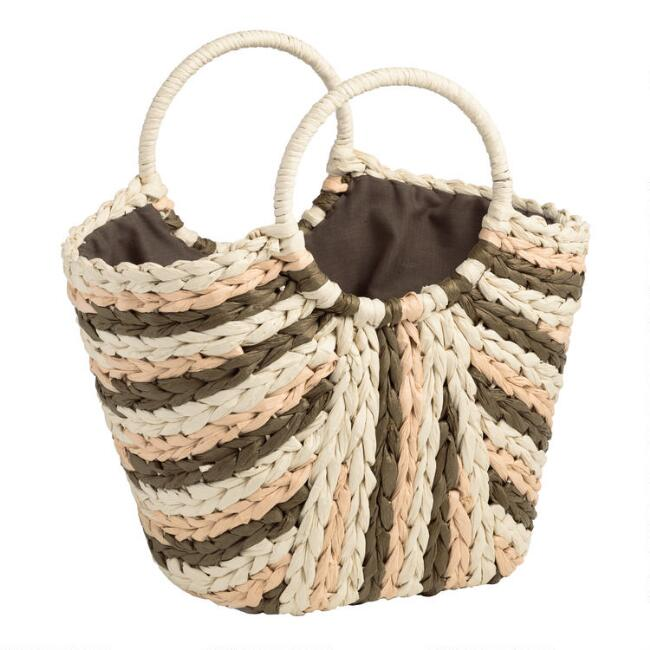 Brown and Natural Straw Tote Bag