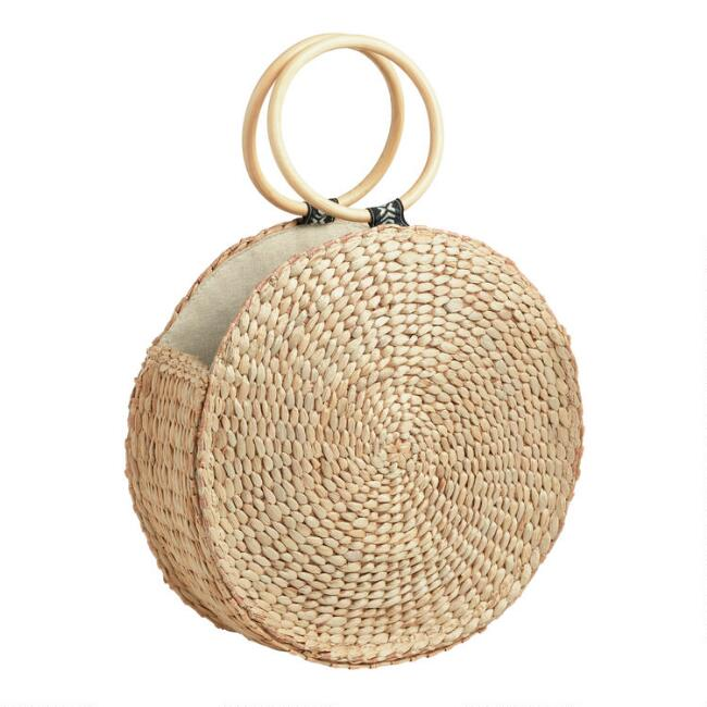 Natural Rattan Round Bag with Wooden Handle