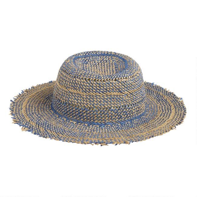 Navy and Natural Straw Sun Hat