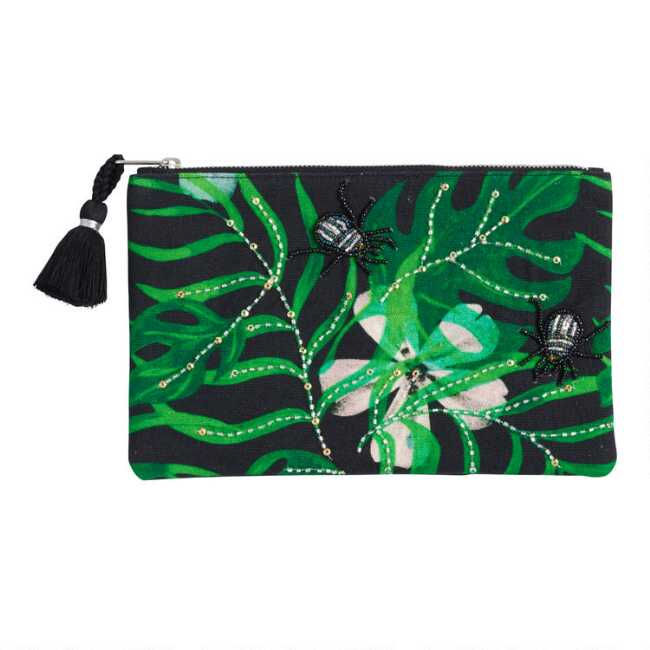9144c979059 Black and Green Leaf Embroidered Pouch