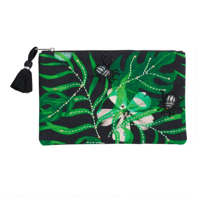 Black and Green Leaf Embroidered Pouch
