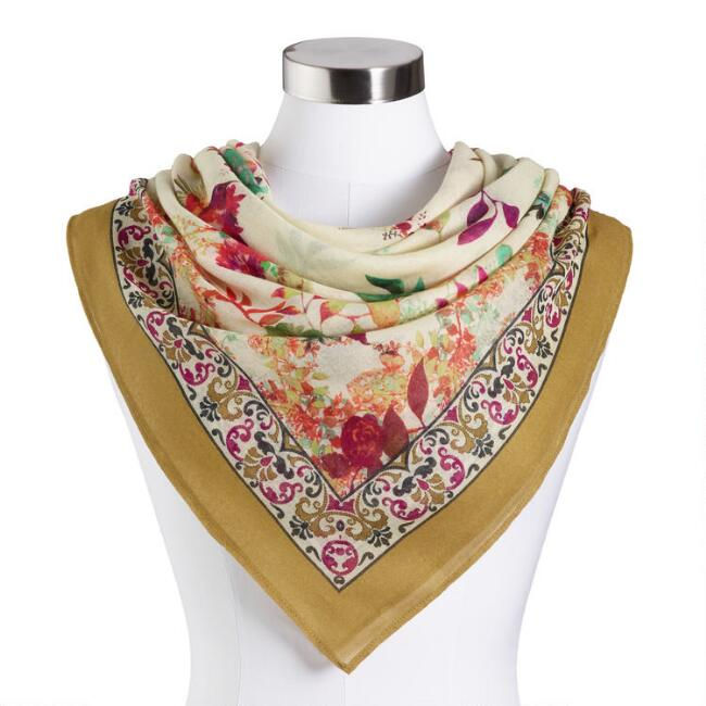 Ivory and Multicolor Floral Scarf