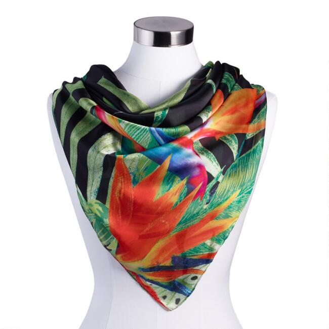 Black Multicolored Tropical Scarf