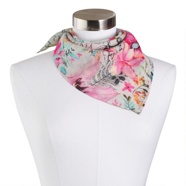 Blue and Pink Floral Kerchief Scarf