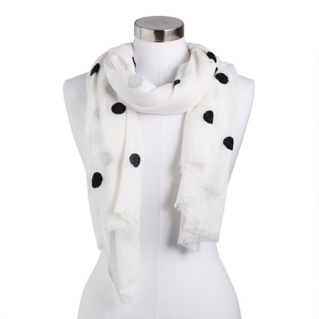 White and Black Chenille Polka Dot Scarf