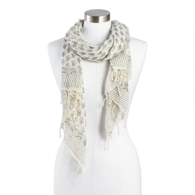 Beige and Gray Fish Block Print Scarf