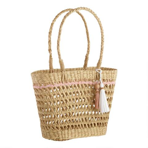 Open Weave Straw Tote Bag With Tassels