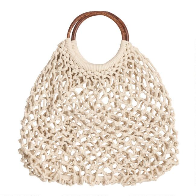 Ivory Fishnet and Wood Handle Tote Bag