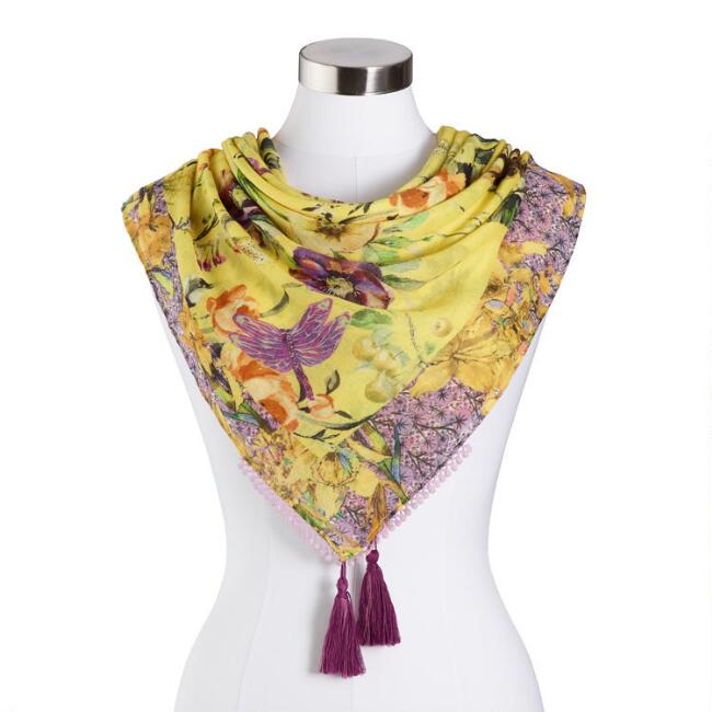 Yellow and Purple Floral Scarf