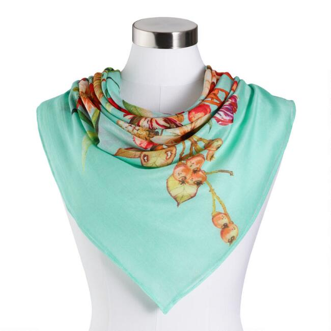 Aqua and Red Floral Scarf