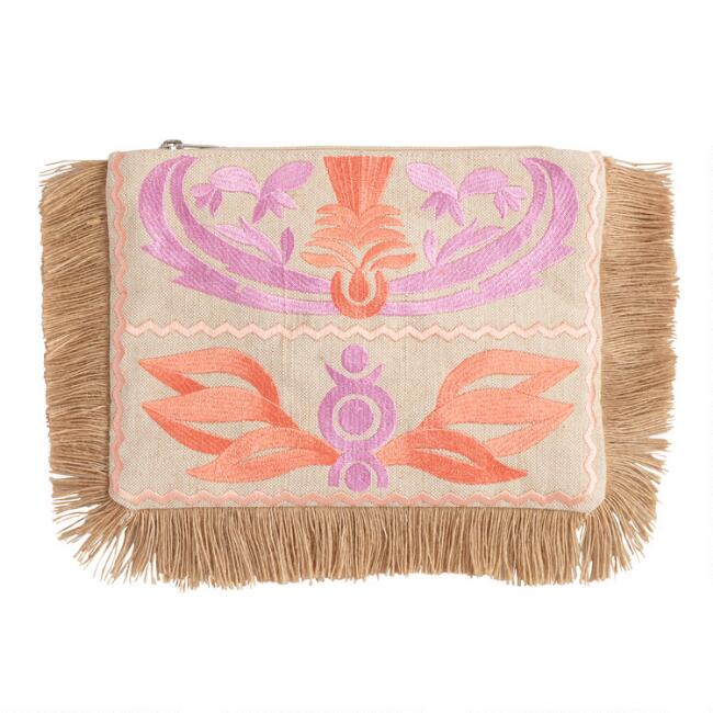 Natural Jute and Pastel Embroidered Pouch