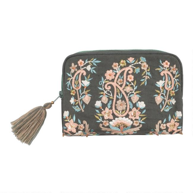 Gray Multicolor Floral Embroidered Pouch
