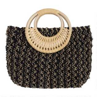 2df214732f7803 Black and Natural Jute Tote Bag with Cane Handle