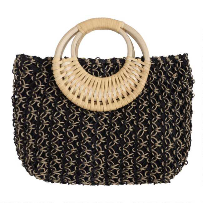 ccf4aa1d366 Black and Natural Jute Tote Bag with Cane Handle