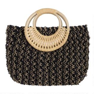 4d90f77054f59 Black and Natural Jute Tote Bag with Cane Handle
