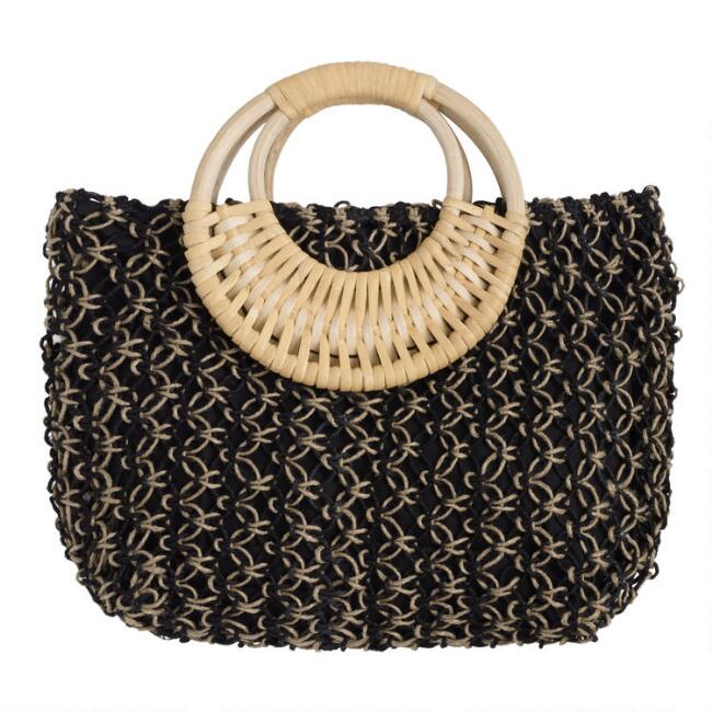 Black and Natural Jute Tote Bag with Cane Handle