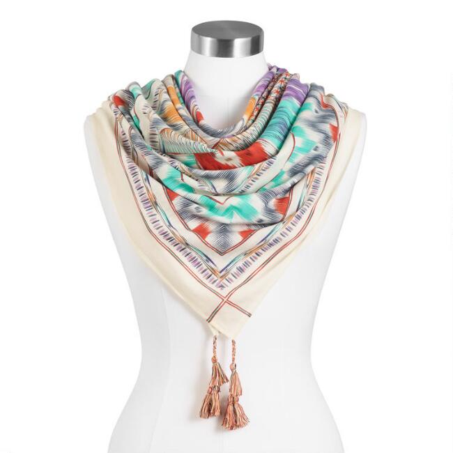 Multicolor Abstract Ikat Scarf