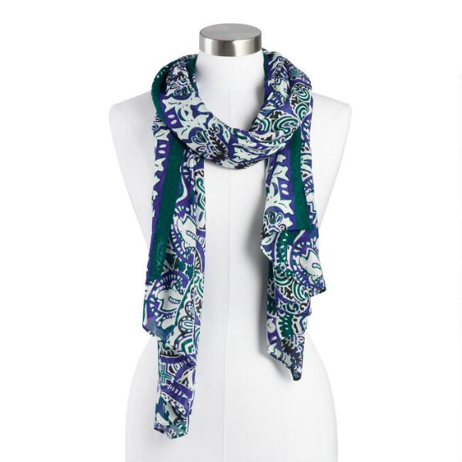 Green, Blue and Ivory Paisley Scarf