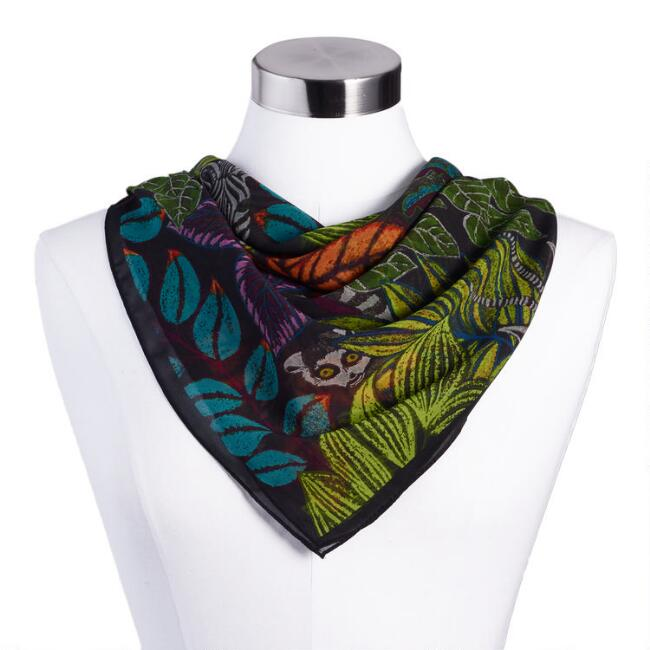 Multicolored Jungle Print Scarf