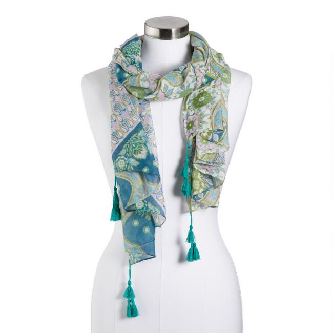 Pink and Blue Pastel Paisley Scarf