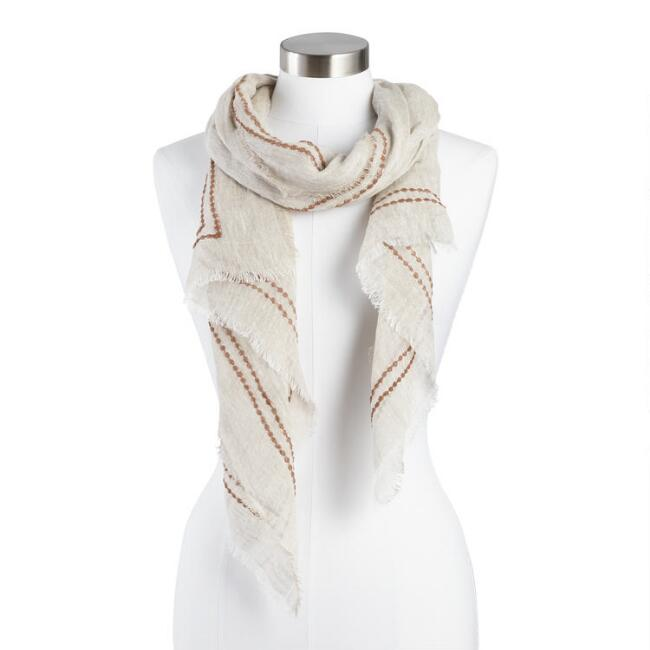Ivory and Tan Linen Scarf