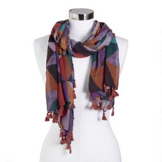08ae3040f1f2 Multicolored Triangle Scarf with Tassels