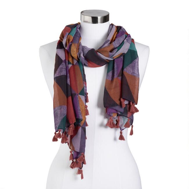 Multicolored Triangle Scarf with Tassels