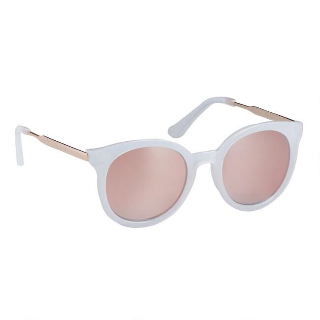 Round White and Gold Claudia Sunglasses