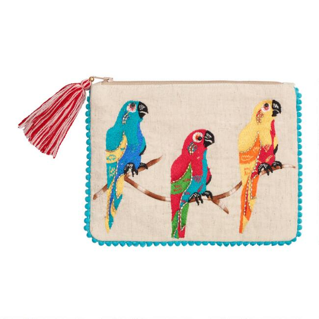 Natural Canvas Embroidered Parrot Pouch