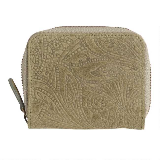 bba3973022ee Olive Green Floral Suede Zip Around Wallet