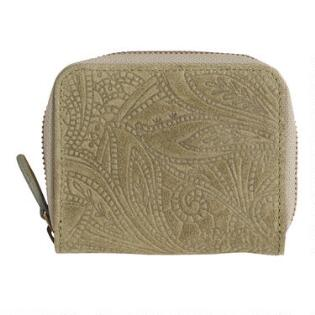fe4a465983cb Olive Green Floral Suede Zip Around Wallet