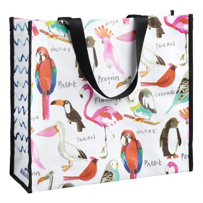 Large Watercolor Birds Tote Bag