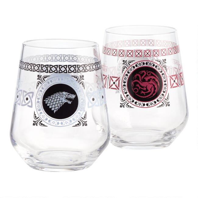 Game of Thrones Stemless Wine Glasses Set of 2