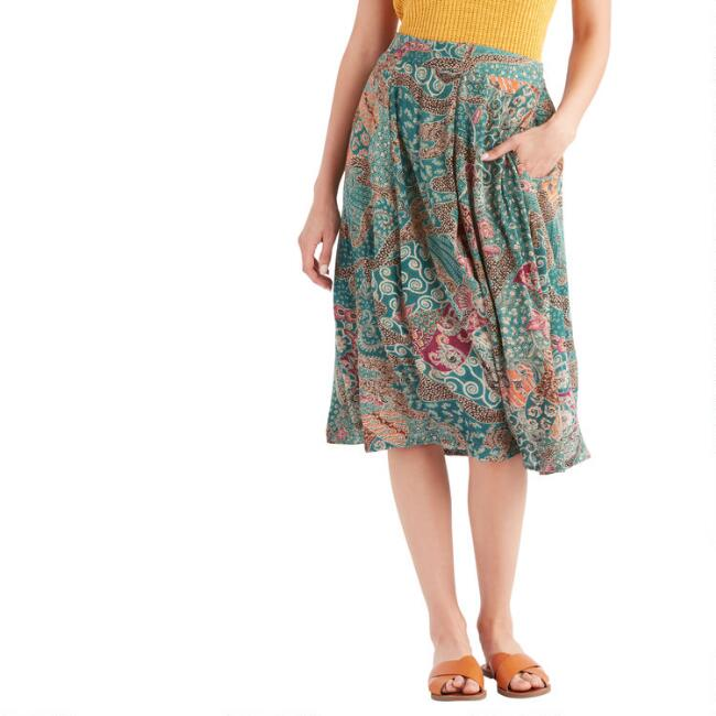 Multicolored Abstract Floral Batik Skirt with Pockets