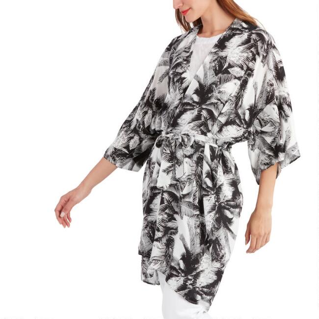 Black And White Tropical Print Kimono