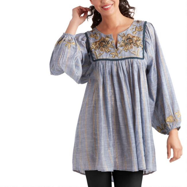 Blue Chambray And Gold Floral Embroidered Kora Dress