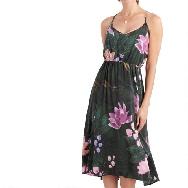 Dark Green And Pink Lotus Dress by World Market