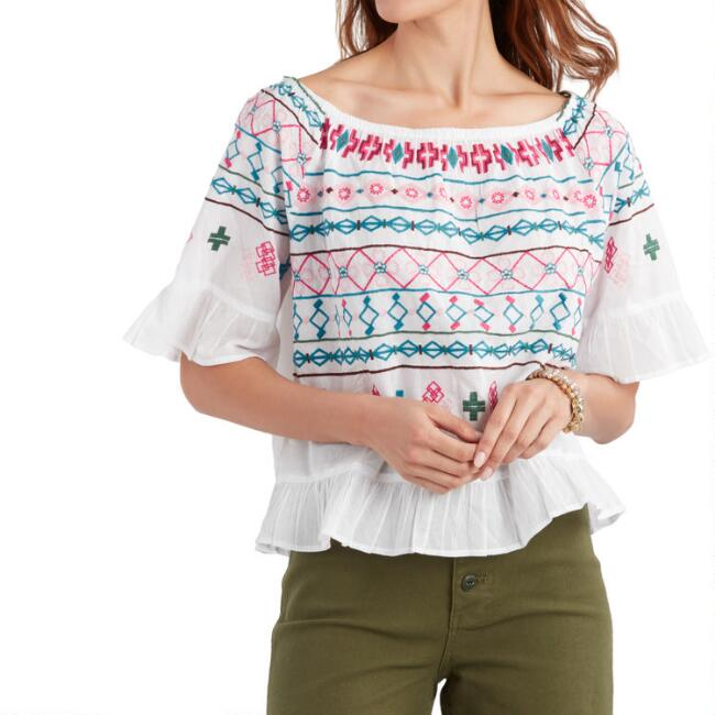 Multicolored Embroidered Maria Off the Shoulder Top