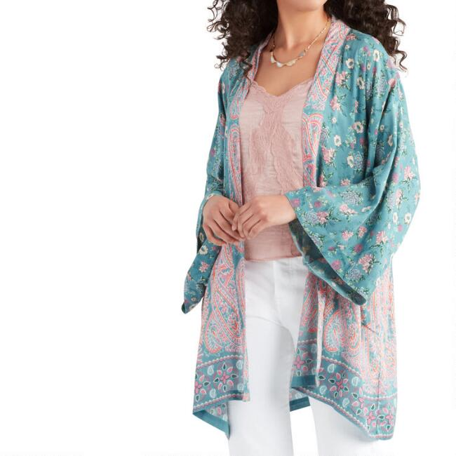 Blue And Coral Mixed Print Open Front Kimono with Pockets