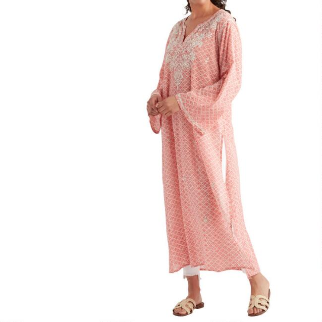 Coral And White Embroidered Dimple Long Tunic