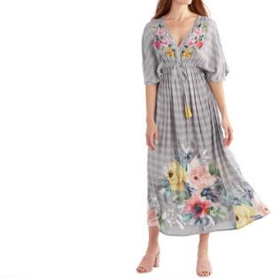 f071468ba6b Gray Multicolored Floral Embroidered Mira Kaftan Dress